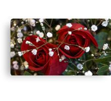 Red Roses with White Canvas Print