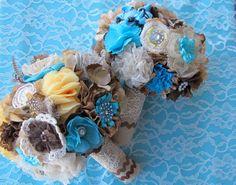 vintage burlap linen lace | Rustic Burlap Wedding Bouquet: Vintage Fabric Lace Feather Country ...