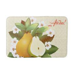 Hawaiian Tropical Pears Fruit Botanical Garden Bath Mat - #customizable create your own personalize diy