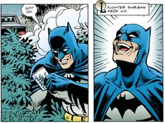 """""""Got 'em"""": There's that oh-so-wrong smile again. Batman on Drugs,  """"Legends of the Dark Knight: Venom""""."""