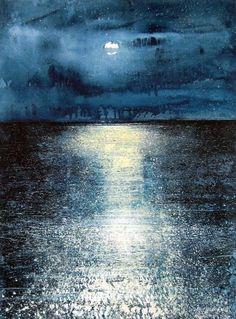 искусство, художники, синий, горизонт, луна, лунный свет, океан, живопись, спокойно, отражение, море, небо, звезды, акварель