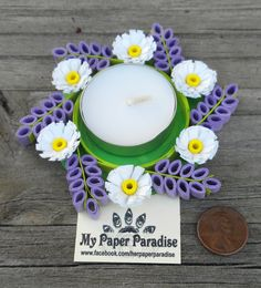 Items similar to Quilling tealight candle holder - hand crafted decorative lavander/white/green/yellow tea light holder on Etsy