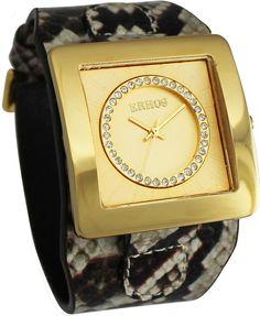 RELÓGIO FEMININO ERHOS ASTÚRIAS 188MR  Relógio Quadrado caixa dourada  Bracelete em couro legítimo estampa Píton