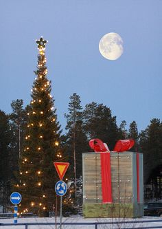 Christmas decoration in a roundabout at Levi, Finnish Lapland