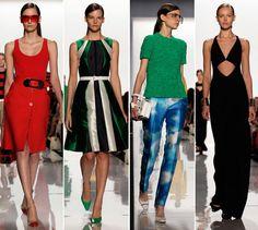 'Geometric glamour. Sixties mod. Retro air hostesses. Bold shades.... Graphic checks and stripes' Michael Kors Spring-Summer 2013 RTW #NYFW
