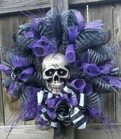 Check out this item in my Etsy shop https://www.etsy.com/listing/472281817/skull-mesh-wreath-halloween-wreath-scary
