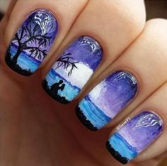 It's like looking at a Van Gogh painting, but your nails. If you think this is amazing then don't hesitate to add it into your list of awesome looking summer nail art designs. Shaded in violet, blue and black hues, this seemingly dark themed nail art design still retains the coolness of summer and the romance that blooms within it.