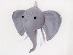 New Felt Plush Elephant Faux Taxidermy Sewing Pattern!