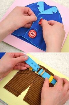 Quiet books/ Busy Books/ Felt Books + A Tutorial A post detailing about Quiet Books for young children with activities to keep them engaged. Well known as busy books or felt books.shoe tying quiet book page Toddler Learning Activities, Montessori Activities, Infant Activities, Book Activities, Kids Learning, Summer Activities, Montessori Materials, Indoor Activities, Learning Tools