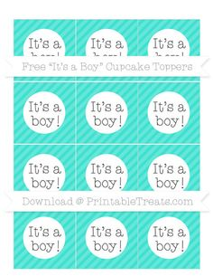 Turquoise Diagonal Striped  Its a Boy Cupcake Toppers