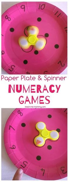 Paper Plate & Spinner NUMERACY Games. Fun way to learn numbers for kindergarten and preschool. Could turn into addition game as well for the advanced.