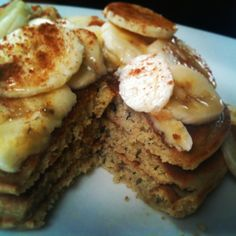 Chai spiced quinoa flour pancakes with coconut oil, macadamia nut butter, banana, maple syrup & cinnamon. Gluten free, complete protein breakfast
