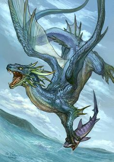 Blue dragon fantasy art