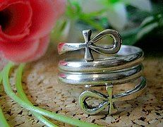 SS-1732 Egyptian Ankh Ring swril egypt Sterling silver Jewelry Pick Your Ring Size We Have Sizes 3 to 14. $37.65, via Etsy.