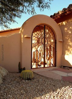 Late Modern - Desert Shadows and Designs Late November sunlight casting it's magic through a mesquite tree onto an arched entry of a neighborhood casa Southwest Decor, Southwest Style, Santa Fe Style, Adobe House, Unique Doors, Backyard, Patio, Iron Gates, Spanish Style