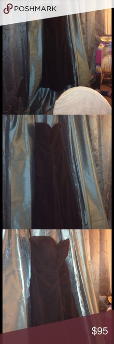 Bridesmaids dress Mori lee bridesmaids dress, size 10, to the floor length, polyester lining and shell, Lacey material, corset style top fits snug 36-38 c and flows bottom, needs to be dry cleaned but great condition only worn once. Zip up back. This one doesn't have the band in the middle like the one in pic one, but very similar. Mori Lee Dresses Wedding