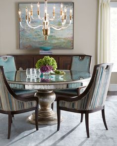 Lisandra Antqiued-Mirrored Round Dining Table
