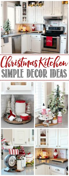 Beautiful and simple ideas to decorate your kitchen for Christmas! Click through for the full Christmas kitchen home tour. Beautiful and simple ideas to decorate your kitchen for Christmas! Click through for the full Christmas kitchen home tour.