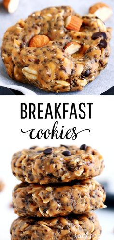 These No-Bake Breakfast Cookies are easy to make, healthy, packed with protein and simply delicious. They can be whipped up in less than 5 minutes and stored for up to two weeks. #breakfast #breakfastrecipes #breakfastideas #breakfastcookies #healthy #healthyrecipes #healtyfood #nobake #nobakecookies #snacks #snackideas #easyrecipe #recipes #iheartnaptime