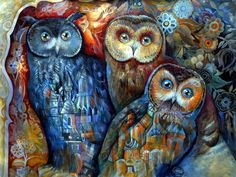owls Art Print OXANA ZAIKA