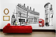 GIANT LONDON CITY BUS REGENT ST  Wall Sticker Decor Art Baby Nursery Room 90X60