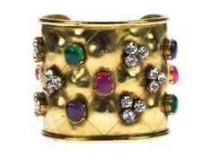 Chanel Vintage Crystal Gripoix Multi-Stone Cuff