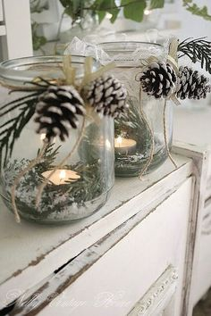 Pinecone mason jar decoration