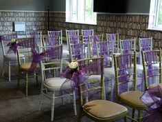 Wedding ceremony set up with Cadbury purple organza sashes.  Want your own quote? Then email me with your ideas! hello@beckiemelvinevents.co.uk  More styles can be seen at www.beckiemelvinevents.co.uk