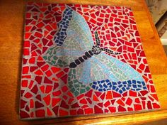 Butterfly garden stepping stone made with mosaic tile - I love my mosaics!