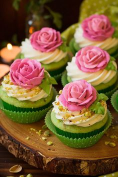 Pistachio Cupcakes: This sweet springtime treat is a sight to behold with a glamorous pink rose complementing a green pistachio cake. Click through to find more easy and fun spring cupcake ideas.