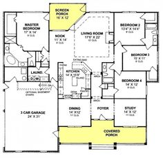 #655903 - 4 Bedroom 3 Bath Country Farmhouse with split floor plan and screened porch : House Plans, Floor Plans, Home Plans, Plan It at HousePlanIt.com
