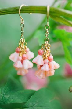 flower bell drop earrings by milladesigns