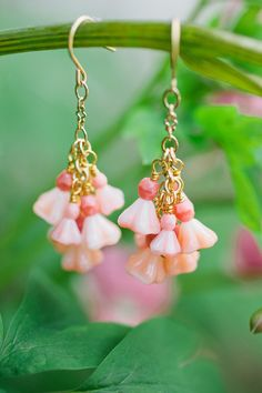 flower bell drop earrings by milladesigns