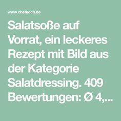 Salatsoße auf Vorrat, ein leckeres Rezept mit Bild aus der Kategorie Salatdressing. 409 Bewertungen: Ø 4,7. Tags: Haltbarmachen, Salatdressing