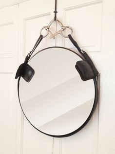 Equestrian Leather Mirror from upcycled bridle with blinders, Stephanie Reppas, October Design Co. [Equestrian Decor]