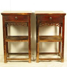 """Antique Chinese Pair 20"""" Wide 34"""" Tall 1 Drawer Tea End Tables Bedside Cabinets"""