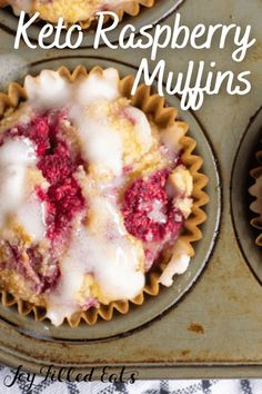 Keto Raspberry Muffins are bursting with raspberries and are drizzled in a homemade glaze. Soft, tender muffins are delicious for breakfast, brunch, or an easy snack idea. They easily fit into diets that are gluten free, keto, dairy free, sugar free, and THM. Low Sugar Recipes, No Sugar Foods, Sugar Free Desserts, Low Carb Desserts, Gluten Free Desserts, Keto Recipes, Keto Muffin Recipe, Raspberry Muffins, Joy Filled Eats