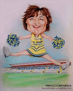 Caricatura regalo per Roberta responsabile amministrativa del modena calcio, tecnica matita