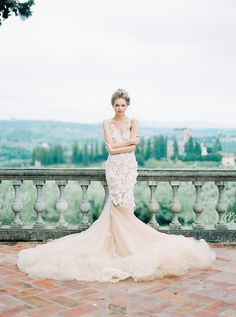 Vogue Italia Shoot featuring nude lace bridal gown