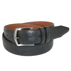 Smooth leather has perforated accents and a double keeper. The buckle is a brushed gun metal finish.