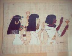 Prêtresses et sistre. Peinture sur véritable papyrus, Christine Monsion