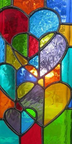 Multi-Color Stained Glass Hearts #StainedGlassMandala