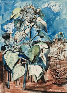John Minton – British) Sunflower, 1948 ink and watercolour on paper… Graphic Design Illustration, Illustration Art, John Minton, Garden Of Earthly Delights, Royal College Of Art, French Artists, New Artists, American Artists, Illustrators