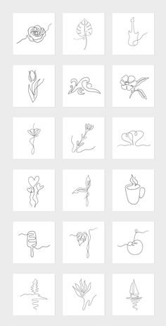 The vector line art collection includes various abstract, floral and scenic drawings to decorate your artwork, wallposters, book covers, greeting cards and more. Mini Drawings, Art Drawings Sketches, Easy Drawings, Flower Sketches, Cute Tiny Tattoos, Mini Tattoos, Small Tattoos, Line Art Tattoos, Tattoo Flash Art