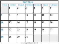 calendar 2017 may