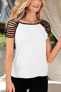 White Strap Shoulder Short Sleeve Top -YOINS