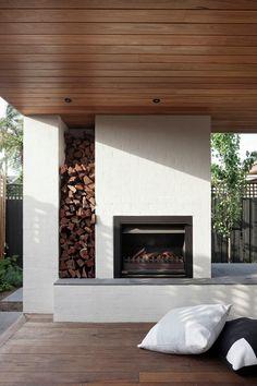 Rustic Outdoor Fireplace Design Ideas To Try Asap 04 Modern Outdoor Fireplace, Outdoor Fireplace Designs, Rustic Outdoor, Outdoor Fireplaces, Fireplace Ideas, Fireplace Seating, Brick Fireplace, Outdoor Ideas, Patio Ideas