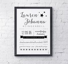 Baby- & Geburtskarten - Geburtsdaten Bild DIN A 4 - schwarz weiss - ein Designerstück von Louise-Wiese bei DaWanda
