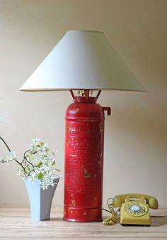 red fire extinguisher lamp: too ironic NOT to do it in the new house!!!!