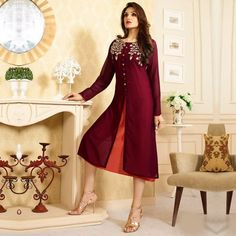 Amayraa Wine Georgette Embroidered Front Cut Kurti